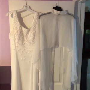 Dresses & Skirts - Off white gown and cape shawl XL